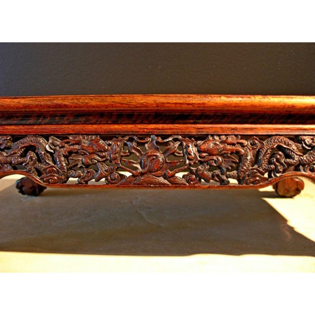 A Chinese Carved Longyan Wood Stand - Image 7 of 7
