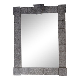 Mid Century Architectural Delineated Faux Stone Mirror For Sale