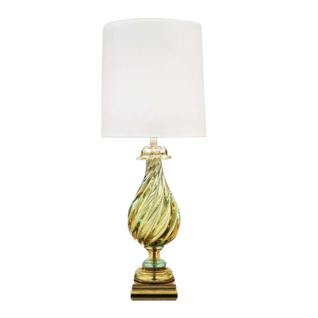 Vintage 1960's Seguso Murano Italian Glass Lamp by Marbro For Sale