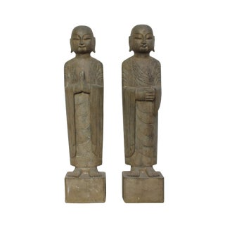 Pair Chinese Stone Carved Standing Monk Lohon Statues For Sale
