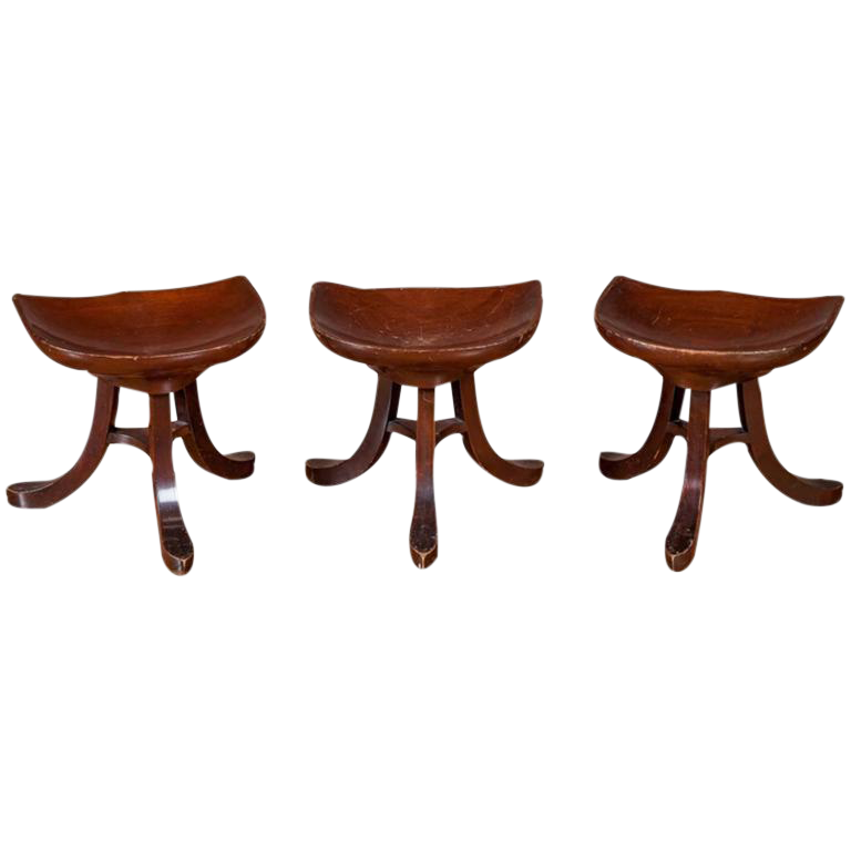 Mid Century Low Stools Set Of 3 Chairish