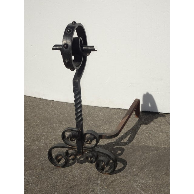 1970s Vintage Black Wrought Iron Spanish Style Andirons W Decorative Cross Bar For Sale - Image 5 of 12