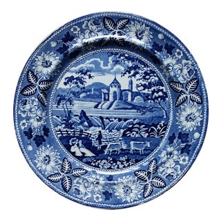 Staffordshire British Landscape Series Plate With Passion Flower Border For Sale