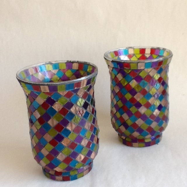 Moroccan Mosaic Glass Candle Votives - A Pair - Image 2 of 8