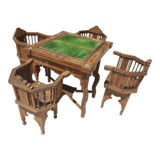 Antique Moroccan/Syrian Gaming Table Set - 5 Pieces For Sale