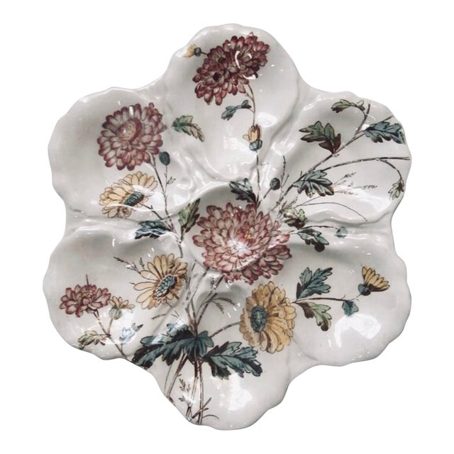 19th Century English Majolica Oyster Plate With Flowers Adderley For Sale