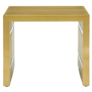 Gold Finish Steel Side Table / Bench For Sale