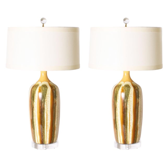 Yellow Pair of Yellow and Green Ceramic Drip Glaze Lamps, C. 1970 For Sale - Image 8 of 8