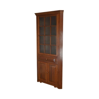 Hand Crafted Solid Cherry Wood Country Style Corner Cabinet by Henry J. Goodyear For Sale