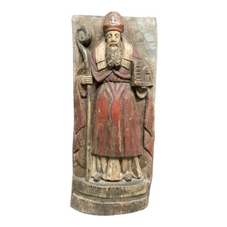 20th Century Carved Solid Wood Religious Polychrome San Augustine Wall Plaque For Sale