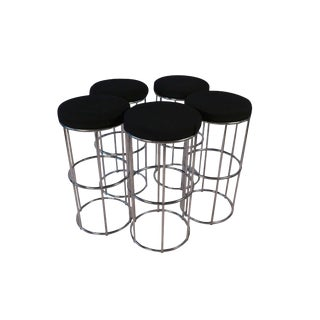 Five Mid Century Modern Chrome Barstools For Sale