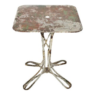 French Garden Table with Distressed Paint Finish