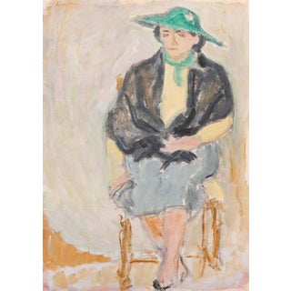 'The Green Hat' by Victor DI GesuParis, Louvre, Académie Chaumière, California Post-Impressionist, Sfaa For Sale