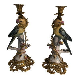 Vintage French Golden Yellow & Green Bronze Ormolu Candlesticks - a Pair For Sale