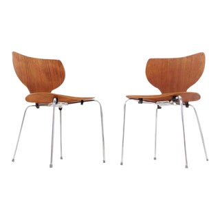 Molded Teak Danish Modern Stacking Dining Chairs - Set of 8 For Sale