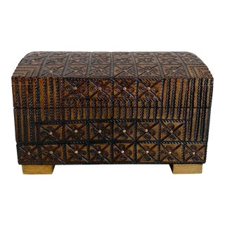 Vintage Hand Carved Wooden Box For Sale