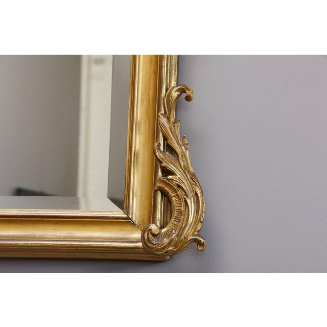 19th Century French Rococo Mirror With Beveled Glass For Sale - Image 9 of 11