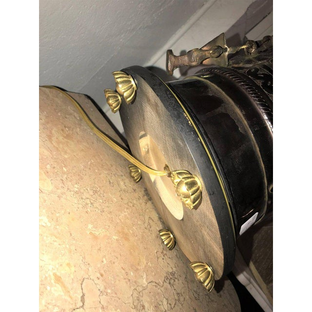 Pair of Custom Quality Vintage Brass and Metal Floral Design Urn Table Lamps For Sale - Image 11 of 13