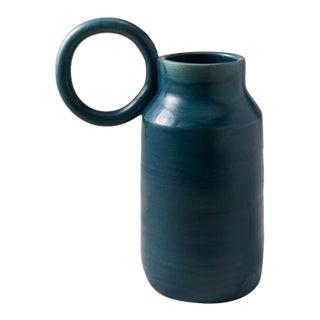 Contemporary Handmade Ceramic Olivia Round Handle Pitcher - Azure For Sale
