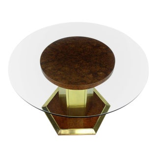 Mid-Century Modern Henredon Round Brass Burl Wood Dining Table For Sale
