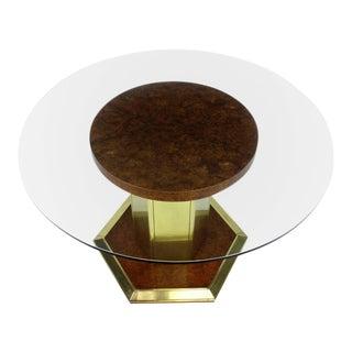 Mid-Century Modern Henredon Round Brass Burl Wood Dining Table For Sale