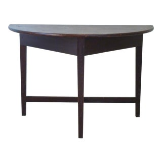 Early American Faux-Grain Demi-Lune Console