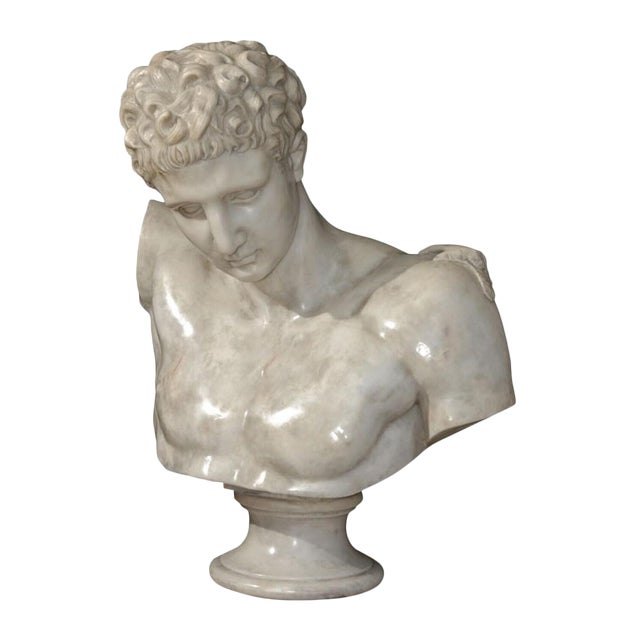 20th Century Carved Marble Bust of Hermes For Sale