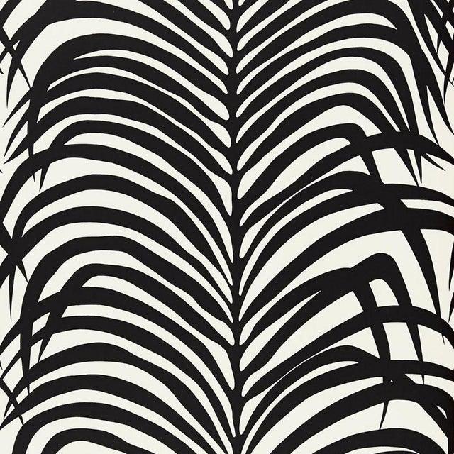 Contemporary Sample - Schumacher Zebra Palm Pattern Floral Animal Wallpaper in Ebony Black For Sale - Image 3 of 3
