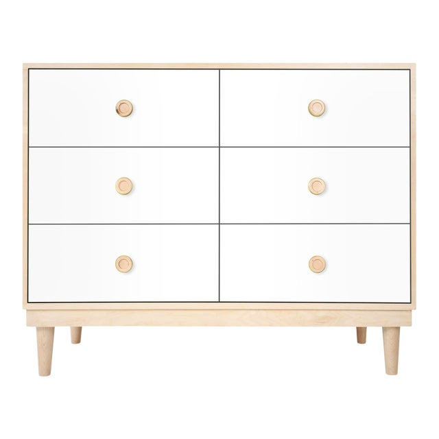 Lukka Modern Kids 6-Drawer Dresser in Maple With White Finish For Sale