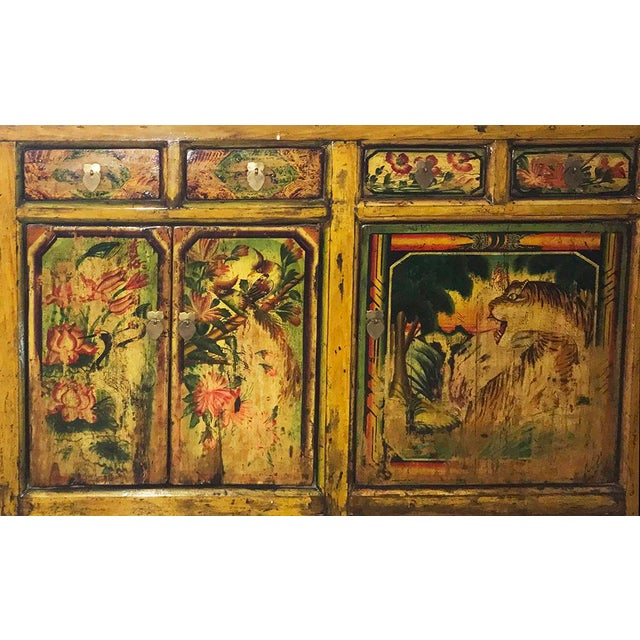 Asian 1900s Asian Antique Mongolian Hand Lacquer Painted Wildcat Cabinet For Sale - Image 3 of 4