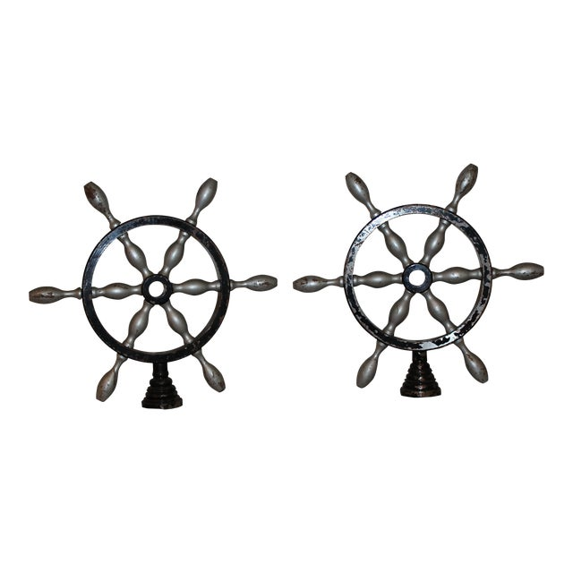 Vintage French Metal Ship Wheels - a Pair For Sale