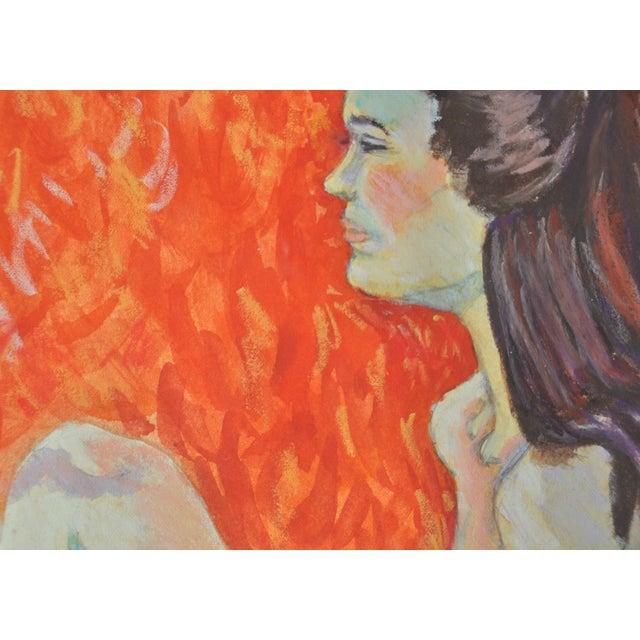 """Esther Akrish """"Pensive"""" Original Watercolor - Image 2 of 4"""