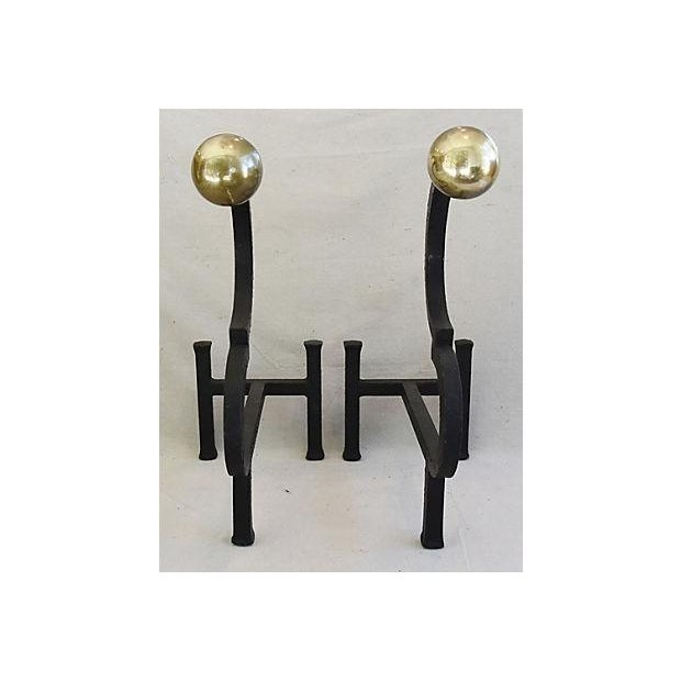 Contemporary Vintage Monumental Pair Heavy Iron & Brass Fireplace Andirons For Sale - Image 3 of 11
