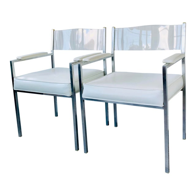 1970s Vintage Lucite Armchairs- A Pair For Sale