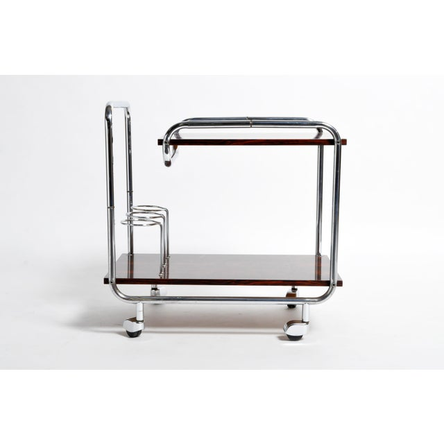 Mid-Century Modern Hungarian Chrome and Rosewood Bar Cart For Sale In Chicago - Image 6 of 13