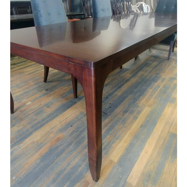Mid-Century Modern Henredon Furniture Barbara Barry Perfect Parsons Walnut Dining Table For Sale - Image 3 of 13
