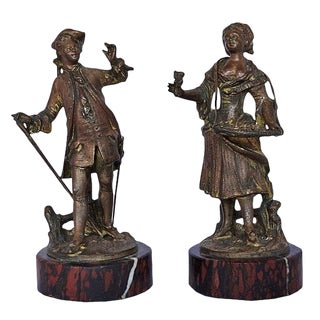 Late 19th Century Small Bronze Figural Models- a Pair For Sale