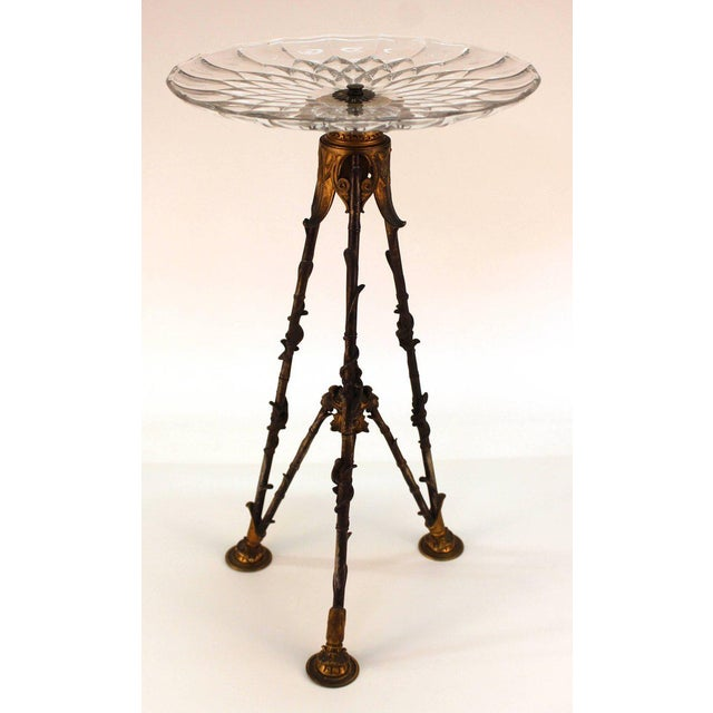 French Antique Victorian French Pastry Holders on Tripod Bronze Bases and Val St. Lambert Glass - a Pair For Sale - Image 3 of 11