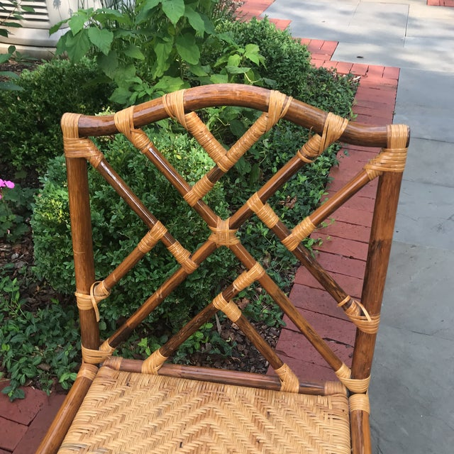 Brown 1960s Traditional Bamboo and Rattan Chairs - Set of 4 For Sale - Image 8 of 11