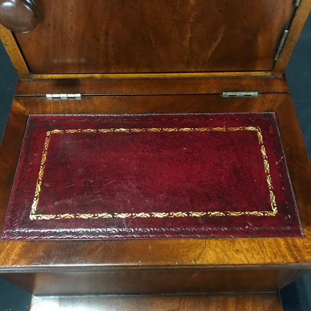 Mid 19th Century British Mahogany Library Steps With Burgundy Tooled Leather Treads For Sale - Image 5 of 12