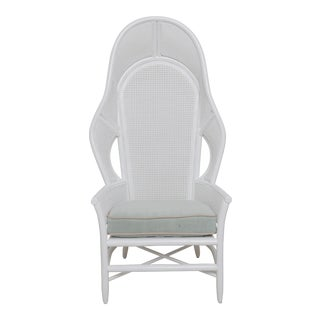 White Cool Wintge Cane High Back Chair For Sale