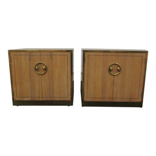 Mastercraft Zebrano and Brass Nightstands - A Pair For Sale