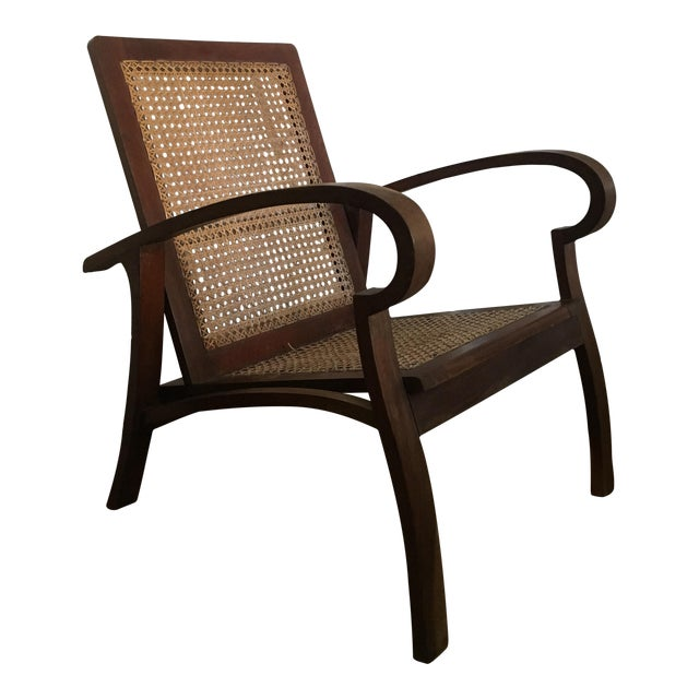 Mid-Century Teak Cane Chair - Image 1 of 5