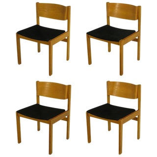 Set Four Harvey Probber Bleached & Bent Mahogany Dining Chairs For Sale
