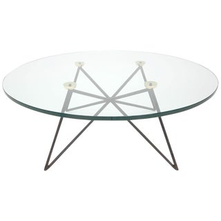 Iron and Brass Glass Top Coffee Table For Sale