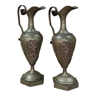 Pair of 19th Century Renaissance Brass Ewers With Bronze Four Season Cameos For Sale