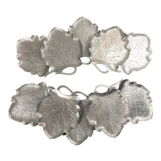 Vintage Everlast Hand Forged Aluminum Grape Leaf Appetizer Plates - Set of 10 For Sale