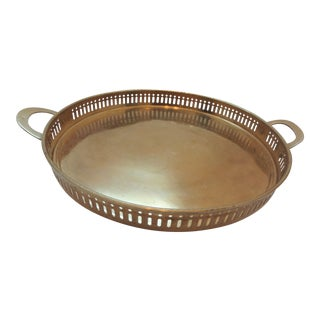 Round Brass Gallery Tray For Sale