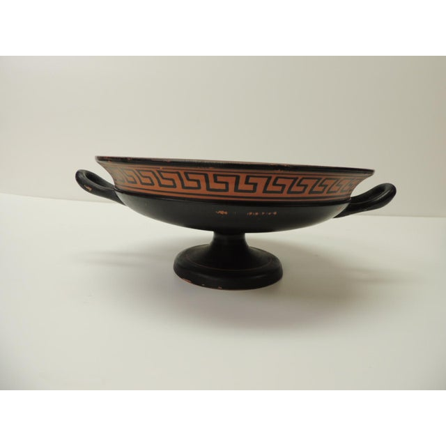 Vintage Encaustic Hand Painted Greek Terracotta Centerpiece With Handles For Sale - Image 4 of 7