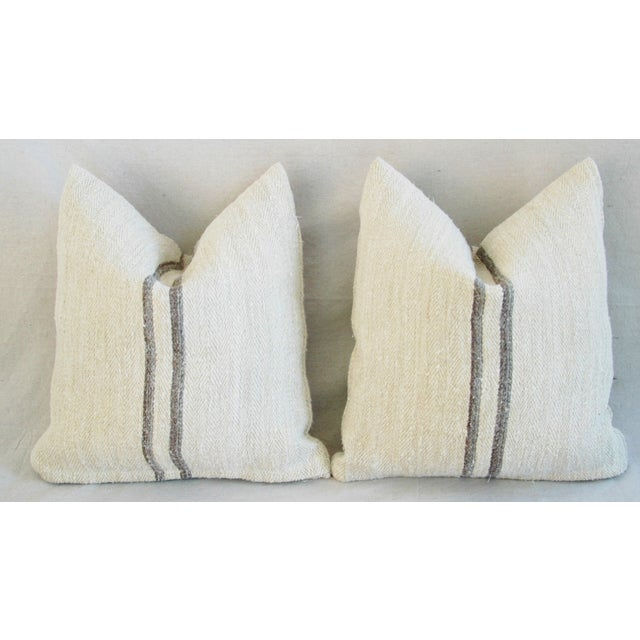 French Grain Sack Pillows - A Pair - Image 4 of 11